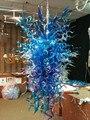 Горячая Распродажа Популярная синяя люстра Длинная форма стиль ручная выдувная стеклянная люстра в американском стиле