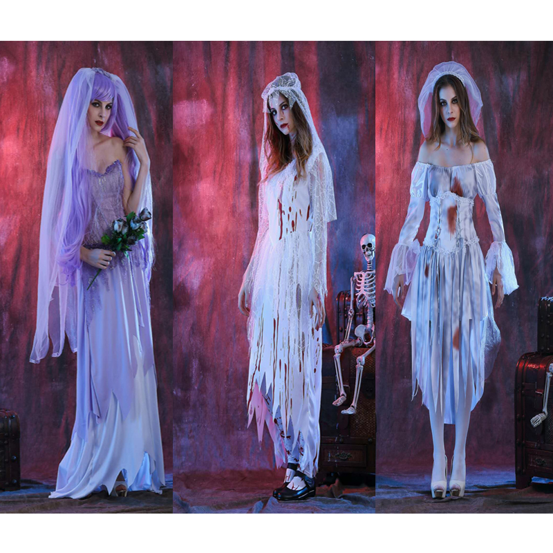 2018 High quality terrible costume vampire cosplay adult masquerade costume ghost party white dress female network devil loaded