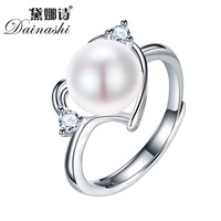Dainashi 2016 Hot Selling 925 Sterling Silver Ring For Women Ring 9 10 Mm Genuine Freshwater
