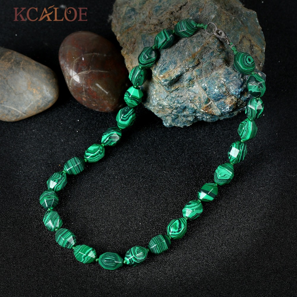 KCALOE Female Jewelry Green Malachite Necklace Fashion Zinc Alloy Lobster Clasp Beaded Collane Donna Chokers Necklaces For Women
