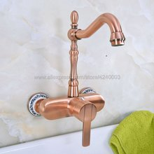 Antique Red Copper Wall Mounted Faucets Kitchen Swivel Faucet Bathroom Basin Sink  Mixer Tap Kna938