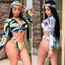 Bargain Summer Women High Waisted Bikini Set Push Up Bra Padded Long Sleeve Zipper Tankinis 3Pcs Swimsuit Swimwear S-XL Printed deal