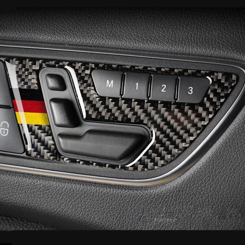 Carbon Fiber Car Door Buttons Seat Adjustment Panel Cover Trim 2pcs For Mercedes Benz GLA X156 CLA C117 A B Class 2011-2018