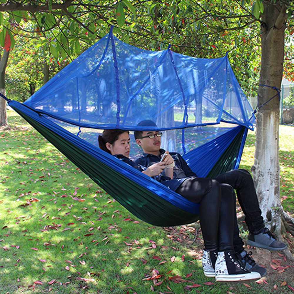 2017 Hot Aotu 2.6 x 1.4M Portable High Strength Parachute Fabric Sleeping Hammock Durable Hammock with Mosquito Net for Outdoor
