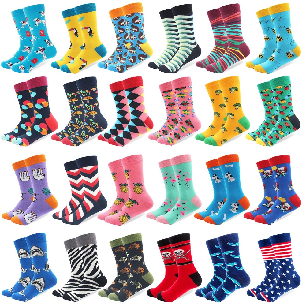 1 Pair Colorful Combed Cotton Socks Shark Skull Pattern Long Tube Happy Men Socks Novelty Skateboard Crew Casual Crazy Socks