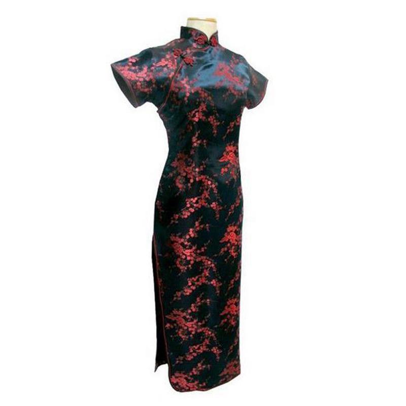 Новинка, длинное атласное женское платье чонсам, элегантное тонкое платье с высоким разрезом, традиционное платье ручной работы с пуговицами и цветами, Qipao, с коротким рукавом, Vestidos - Цвет: Flower 1