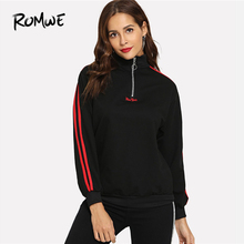 a3fc7dc4d ROMWE Black Contrast Stripe Zip Up Clothes 2018 Autumn Womens Clothing Casual  Half