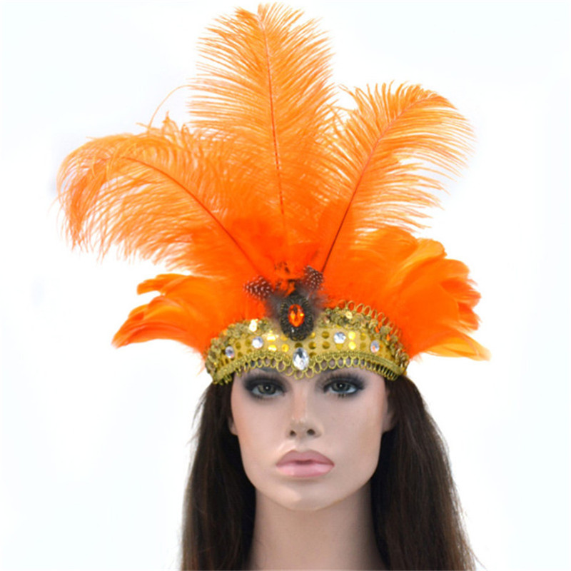 9 Colors Indian Style Silver Sequined Party Headwear Carnival Masquerade Feather  Headdress Brazil Rio Cuba carnival 9ede5c9b7b7