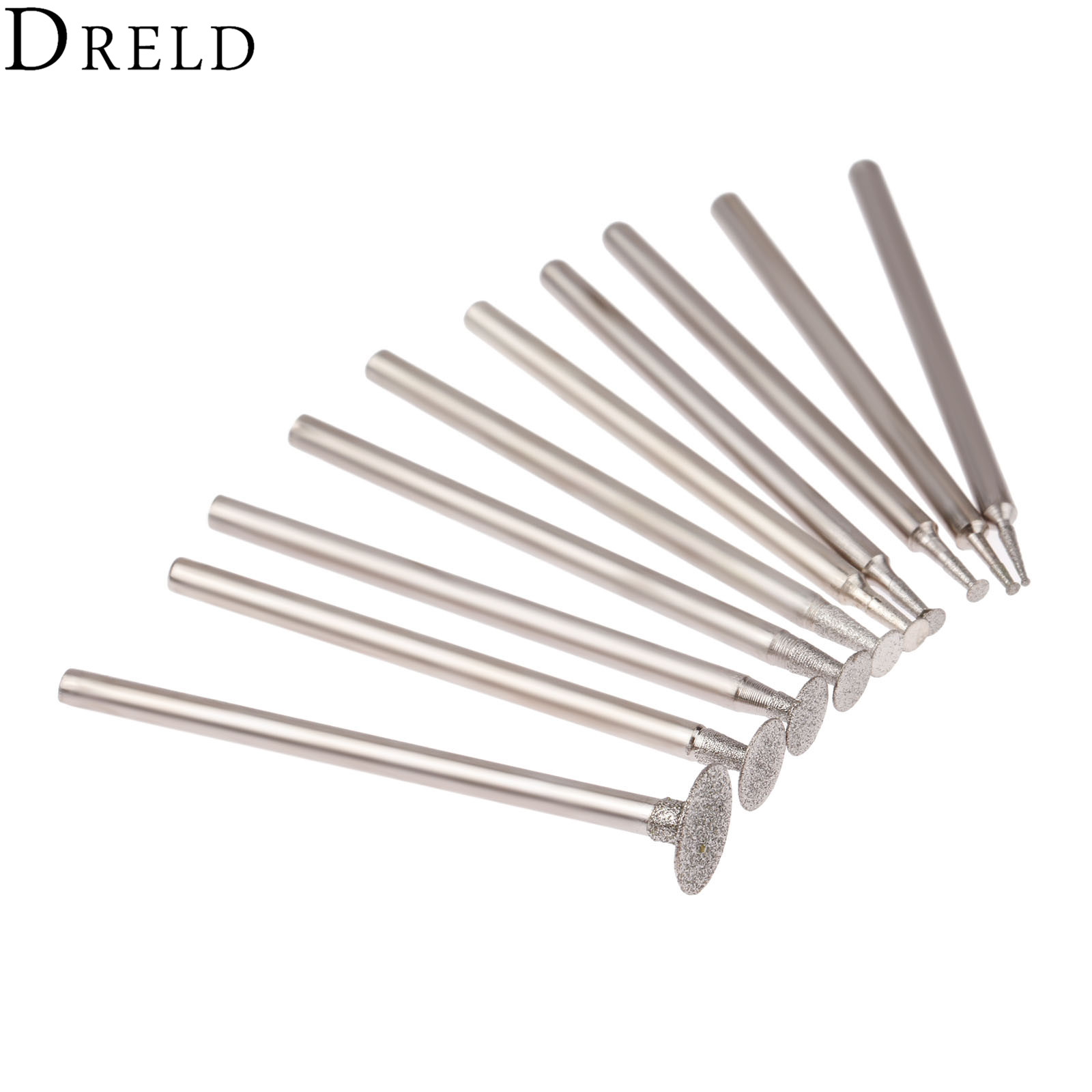 DRELD 10Pcs Dremel Accesories 2.35mm Shank Diamond Mounted Point Grinding Head Stone Jade Carving Polishing Engraving Tools