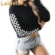 Black White Plaid Crop Top Patchwork Streetwear Long Sleeve Pullovers Hooded Sweatshirt Women Autumn Clothing Top Sweatshirt sweatshirt top miss blumarine sweatshirt top