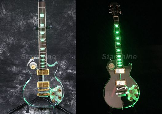 Starshine lumière LED guitare electrique DK-DLP4 cristal guitare vert LED Grover accordeur or Hardware