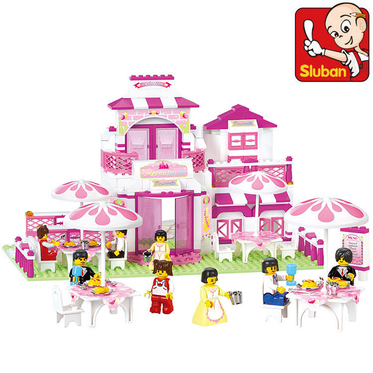 B0150 SLUBAN Girl Friends Romantic Restaurant Model Building Blocks Enlighten DIY Figure Toys For Children Compatible With Legoe sluban pink dream sweet drink house educational toys for children building blocks plastic enlighten diy bricks legoe compatible