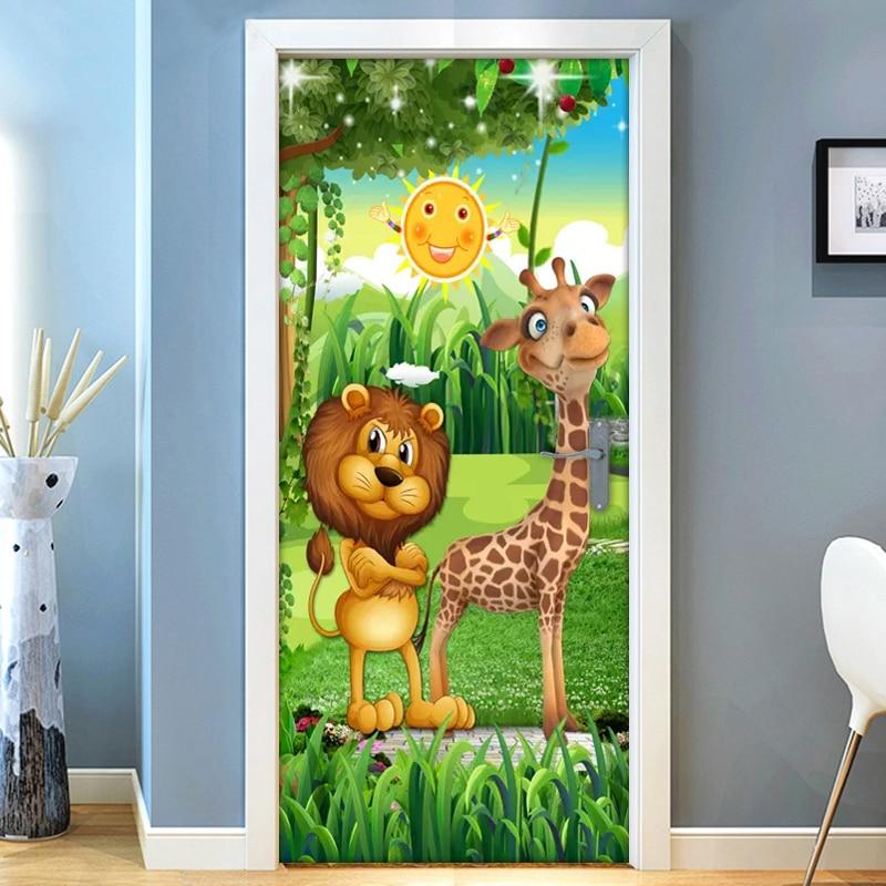 3D Forest Cartoon Animal Lion Giraffe Children Room Kids Room Bedroom Door Decoration Sticker Wall Mural Wallpaper Self-adhesive