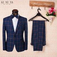 Мужской костюм, брюки, синий клетчатый костюм на заказ, свадебные платья (пальто + брюки + галстук)