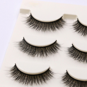 Image 3 - YOKPN Short Natural False Eyelashes Cross Soft Cottontail Stem Curl 3D Eye Lashes Comfort Stage Makeup Thick Fake Eyelashes