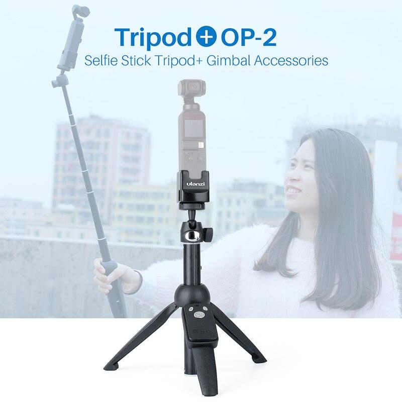 OSMO POCKET Vlog Tripod Monopod Selfie Stick With Ulanzi OP-2 Base Fixed Holder USB Type-C Charging For DJI Osmo Pocket