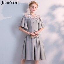 8d1fa76581 JaneVini corto elegante gris vestido de baile de graduación Puffy manga  corta una línea de Apliques de encaje con cuentas ilusió.