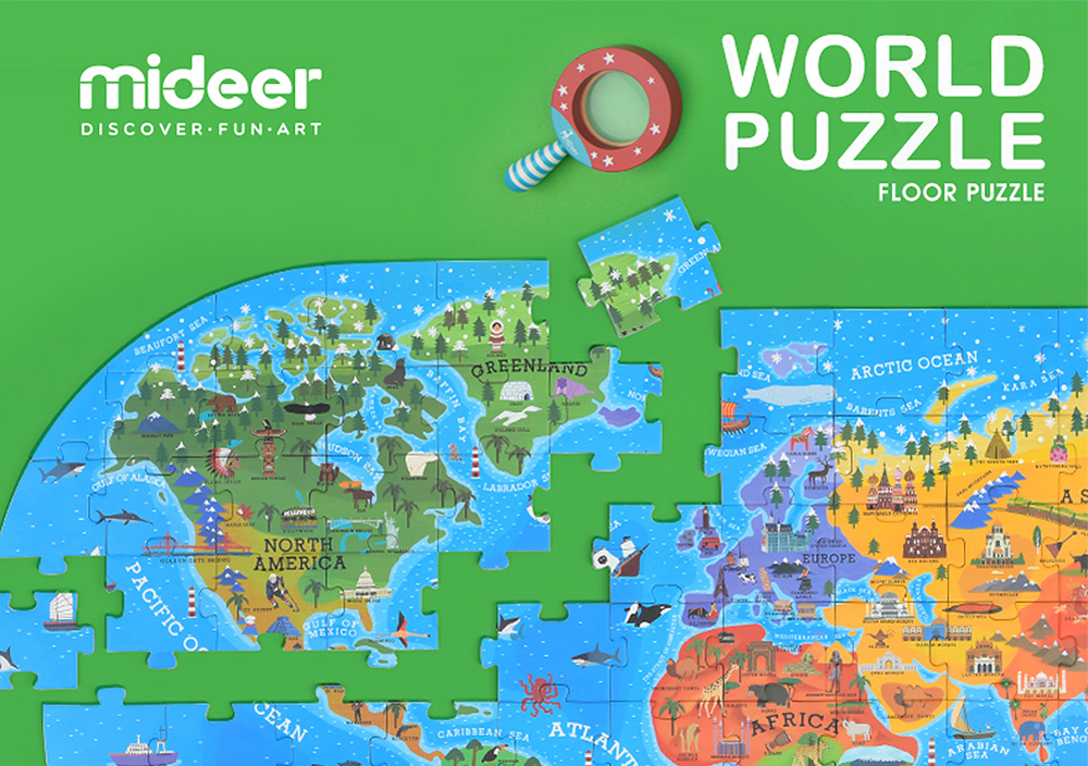 MiDeer Our World Map Floor Puzzle 100 Large Pieces Baby Kids Early Learning  Educational Toys for Strollers Children Best Gift
