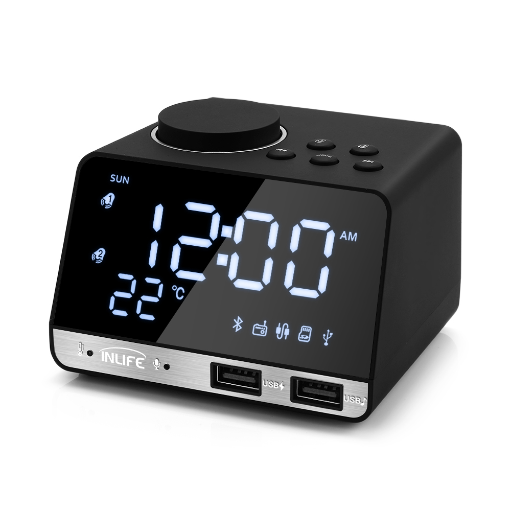 Inlife K11 EU US Bluetooth 4.2 Radio Alarm Clock Speaker 2 USB Port LED Digital Snooze Clock Home Decor Table Desk Alarm ClockInlife K11 EU US Bluetooth 4.2 Radio Alarm Clock Speaker 2 USB Port LED Digital Snooze Clock Home Decor Table Desk Alarm Clock