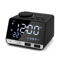 Inlife K11 US Plug Bluetooth 4.2 Radio Alarm Clock Speaker 2 USB Port LED Digital Snooze Clock Home Decor Table Desk Alarm Clock
