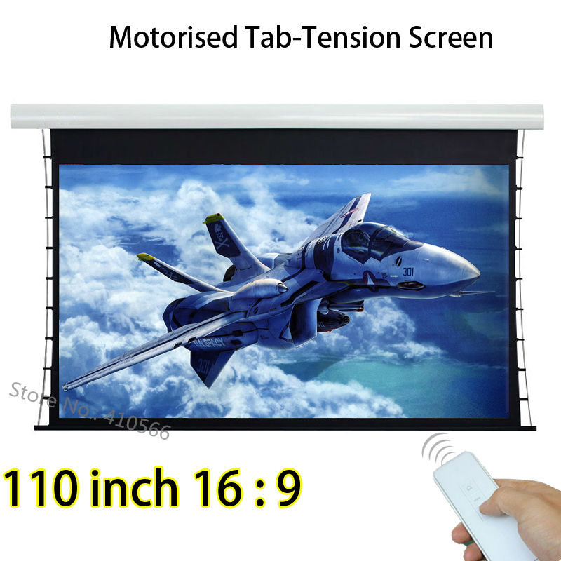 Aluminum Casing Tab Tensioned Electric Projection Screen 110inch 16:9 Format  Best For InFocus Acer 3D Projector