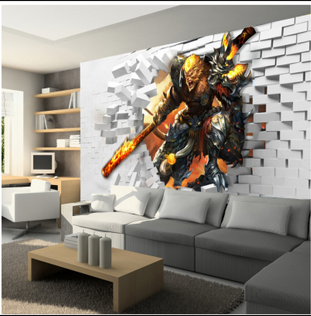 Custom 3d photo 3d large murals transformers cartoon game for 3d room decoration game