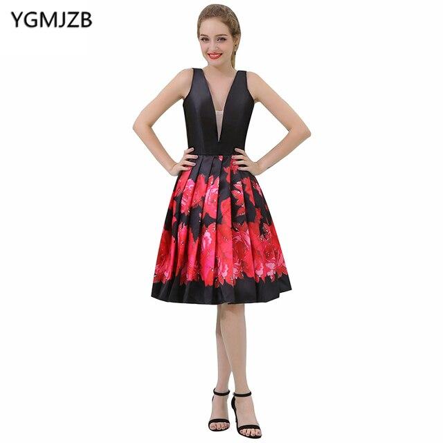3f21ef511b New Arrival Floral Print Prom Dresses 2018 A Line Deep V Neck Cap Sleeve  Short Cocktail Dress Knee Length Party Dresses