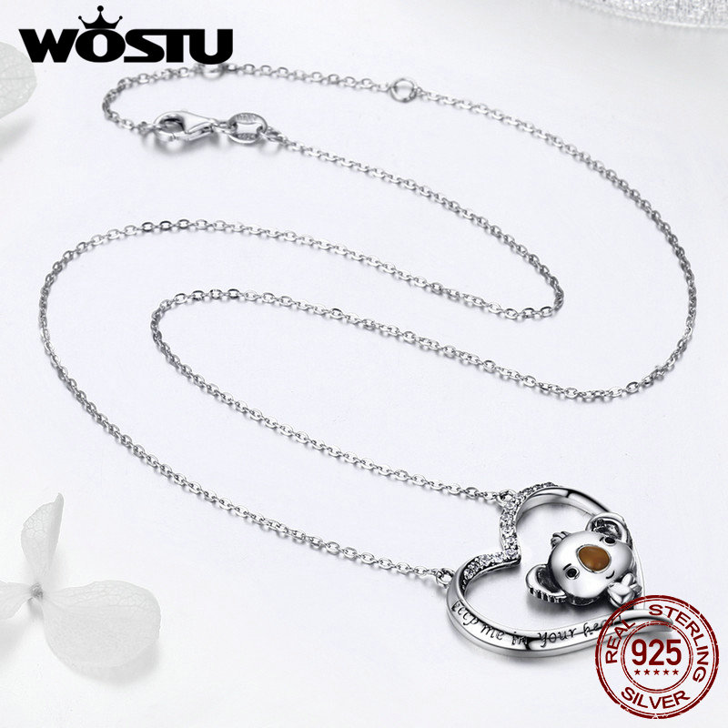 Image 5 - WOSTU High Quality 925 Sterling Silver Cute koala Pendant Necklace For Women Girl Lovely Jewelry Gift For Girlfriend DXN256Necklaces   -