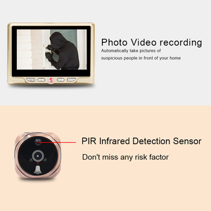 "Image 4 - 4.3 ""LCD شاشة ملونة فيديو العين مراقب الباب الأشعة تحت الحمراء للرؤية الليلية البصرية باب كاميرا بثقب دقيق صور/فيديو جرس الباب الرقمي كاميرا"