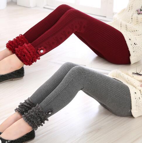 Toddler Girl Winter Leggings Kids Autumn Warm Kinderkleding Meisjes Broeken Skinny Mid Waist Macrame Ankle-length Pencil Pants
