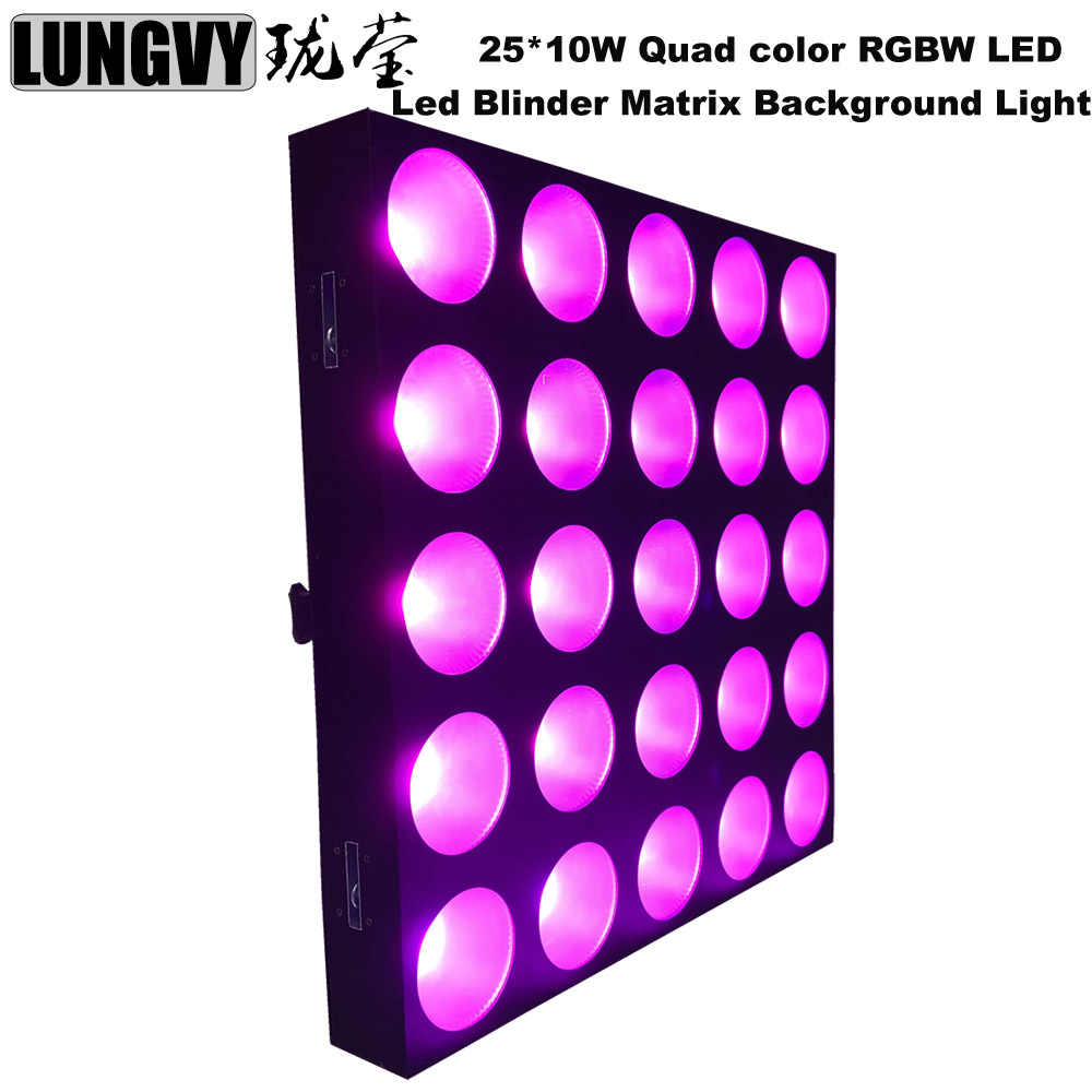 Free Shipping 5x5 Led Matrix DMX 25*10W Quad Color 4IN1LED Disco Show Blinder Wall Washer Led Stage Light