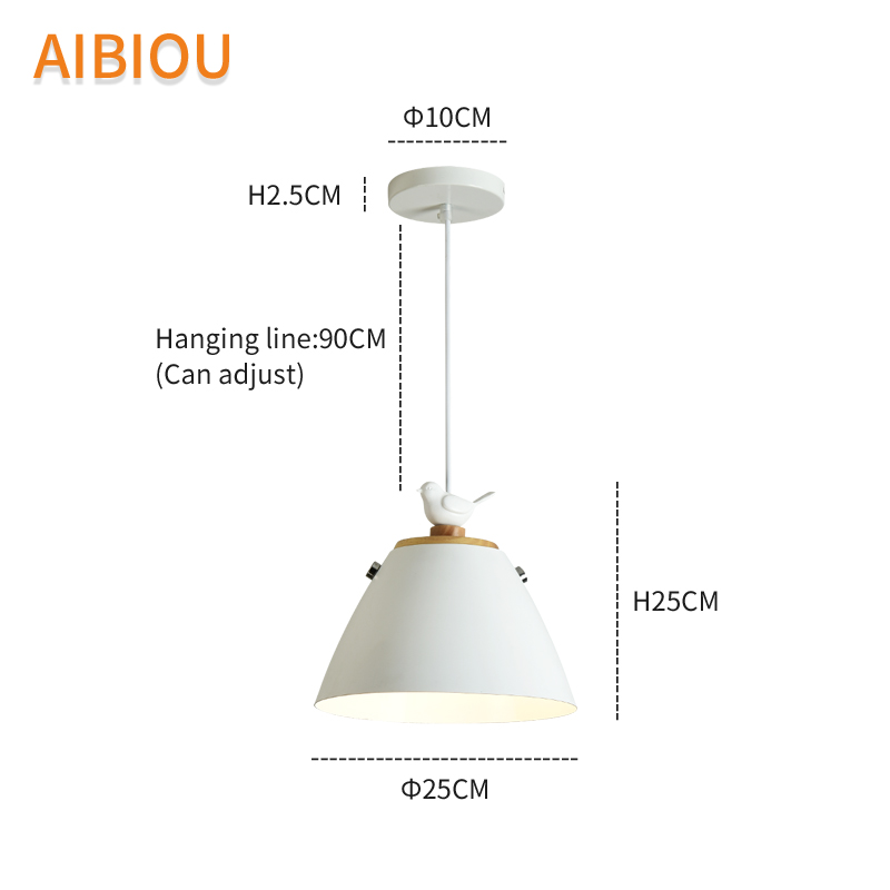 AIBIOU Birds LED Pendant Light With Metal Lampshade For Dining Room White Pendant Lamp Colorful Hanging Light E27 Bar Luminaira in Pendant Lights from Lights Lighting
