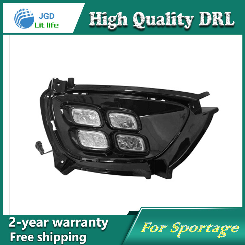 Free shipping !12V 6000k LED DRL Daytime running light case for KIA Sportage 2015 2016 fog lamp frame Fog light Car styling 23 937537