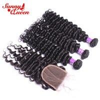 Бразильский пучки волос плетение с закрытием глубокая волна человеческих волос пучки с закрытием Волосы remy 4 шт. sunny queen продукты волос