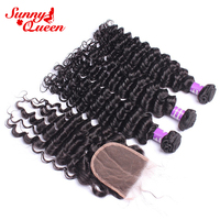 Brazilian Hair Weave Bundles With Closure Deep Wave Human Hair Bundles With Closure Remy Hair 4 Pcs Sunny Queen Hair Products