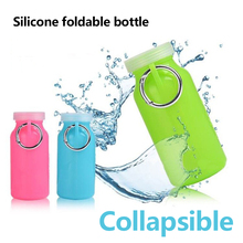 Faltbare flasche Silikon faltbare Mehrzweck 22 unze falten wasser im freien Faltbare sport silizium plegable botella de agua