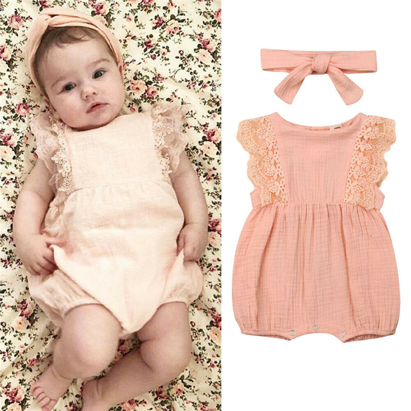 Emmababy Pretty Summer Newborn Kid Outfits Lace Sleeve 2Pcs