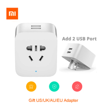 Xiaomi Mijia Smart Socket Plug Basic WiFi Wireless Remote Socket 2 USB Travel Adapter UK/US/AU/EU Electrical Plugs xiaomi mijia smart plug socket enhanced dual usb fast charger zigbee basic socket no usb wireless wifi mi home app control