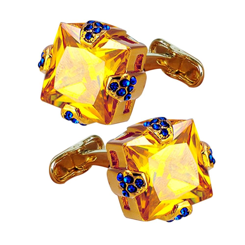 luxury gorgeous cuff links shiny gold yellow zircon studded rhinestone cufflinks for mens shiny wedding and father days gift