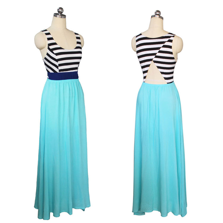 a1f0d704625 Latest designs fashion young girls hollow back african traditional long  flowy summer aqua blue stripe maxi dresses 2015-in Dresses from Women s  Clothing on ...