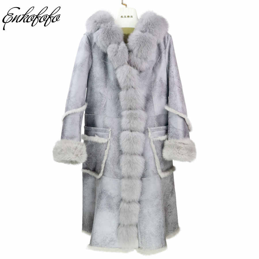 3a7ae336cdfd2 2018 Winter Double-faced Fur Coat Women Hooded Rabbit Fur Liner Genuine  Leather Long Jacket