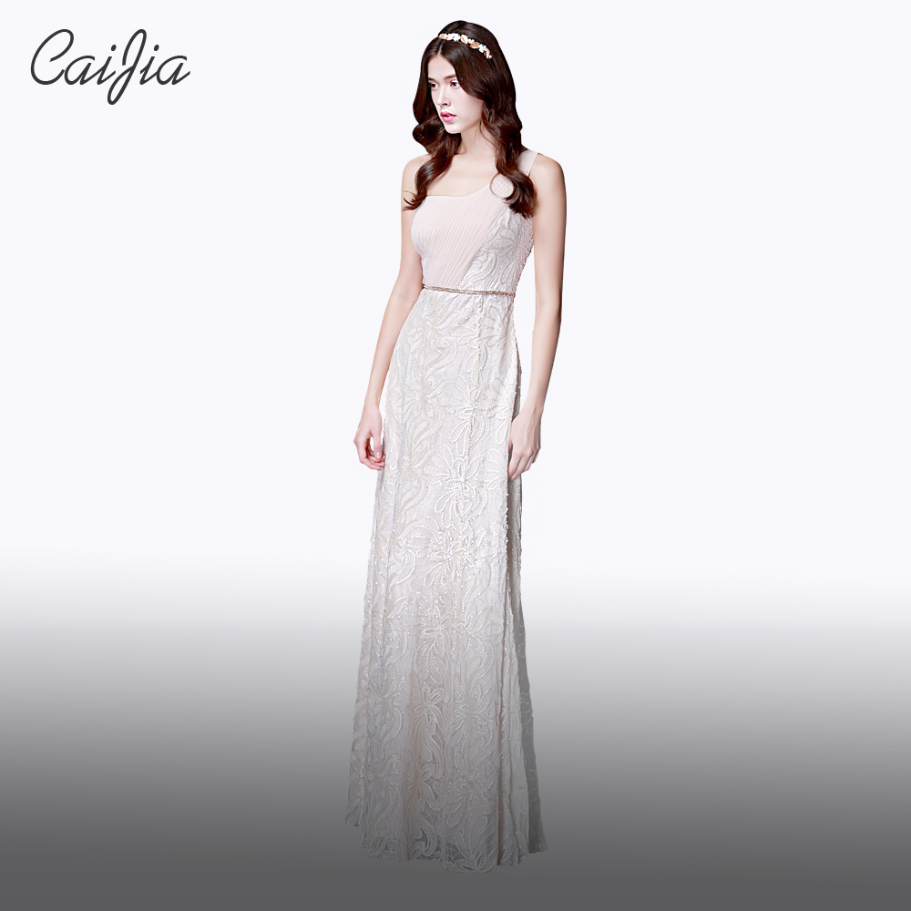CAIJIA2017 Beige Old Fashion One Shoulder Beaded Train