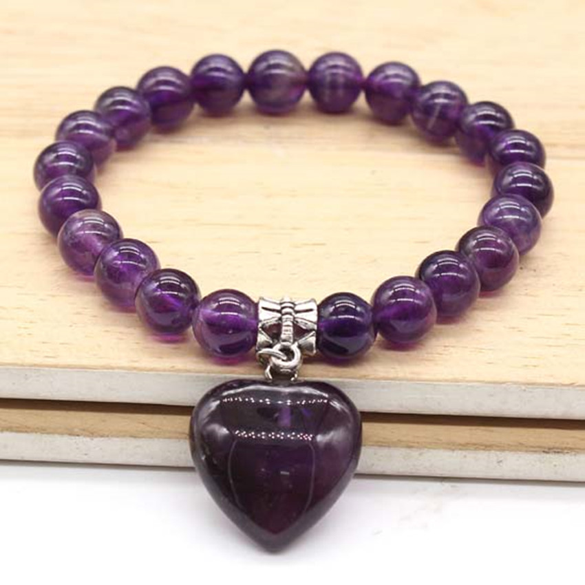 Kraft-beads Silver Plated Romantic Heart Connect Natural Amethysts Round Beads Bracelet For Anniversary Jewelry
