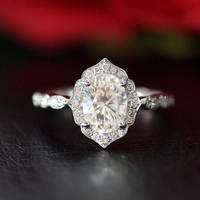Vintage 8x6MM 1.5CT Carat Oval Moissanite Engagement Ring Solid 14K White Gold Moissanite Ring/Anniversary /Promise Ring/