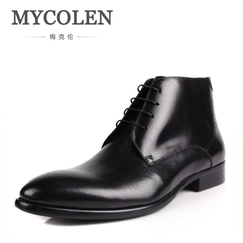MYCOLEN Winter Men Boots Genuine Cow Leather Men Winter Shoes Ankle Cowboy Boots For Men Shoes Black Botas Hombre Erkek Bot mycolen 2017 fashion winter men boots british style working safety boots casual winter men shoes male black leather ankle boots