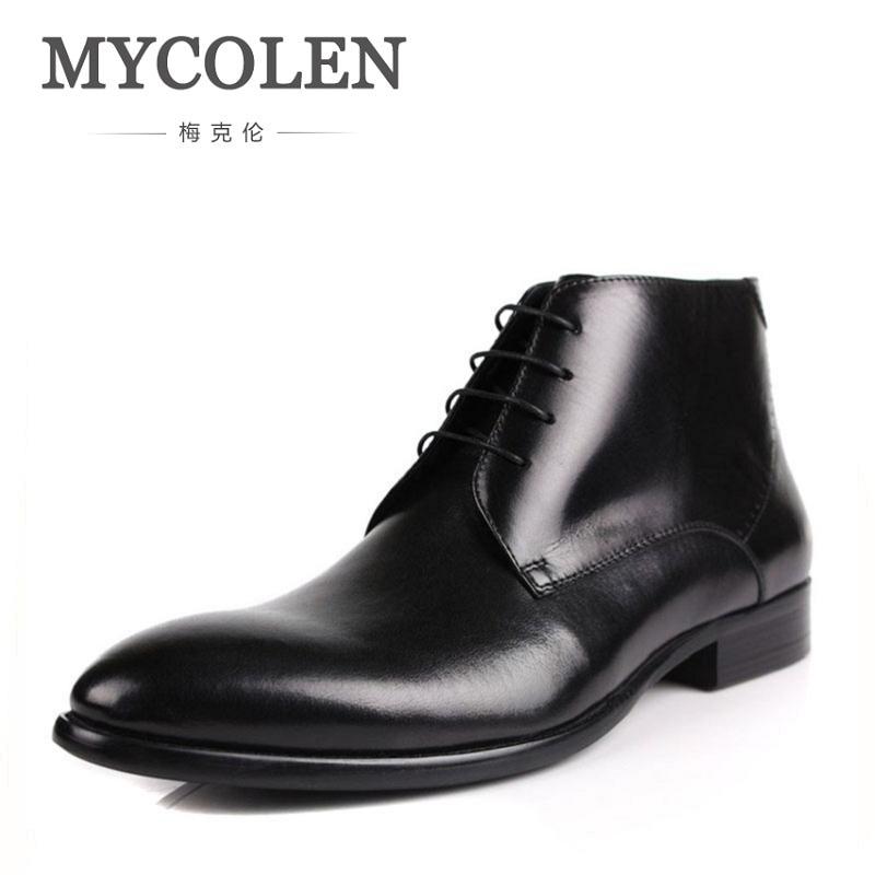 MYCOLEN Winter Men Boots Genuine Cow Leather Men Winter Shoes Ankle Cowboy Boots For Men Shoes Black Botas Hombre Erkek Bot