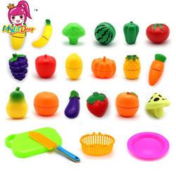 Лидер продаж пластик кухня еда фрукты овощи резка дети Ролевые Игры развивающие игрушки Детская Безопасность Детские Кухонные Игрушки