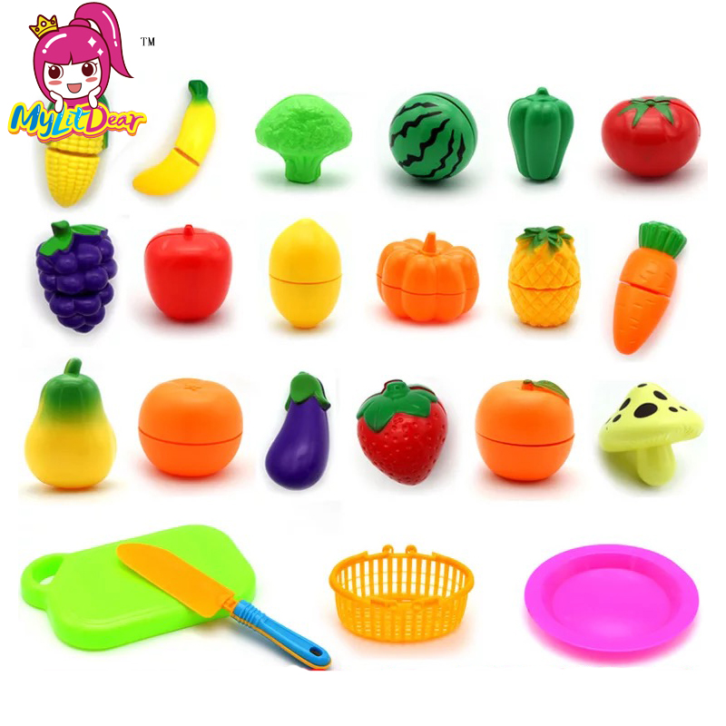 Hot Sale Plastic Kitchen Food Fruit Vegetable Cutting Kids Pretend Play Educational Toy Safety Children Kitchen Toys Sets Gift