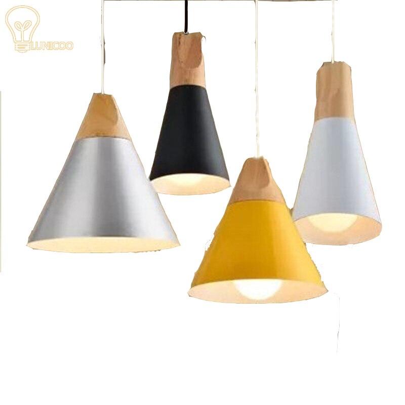 colorido lmparas de techo para cocina industrial e lampen luminaria suspendu cnica pantalla de madera para