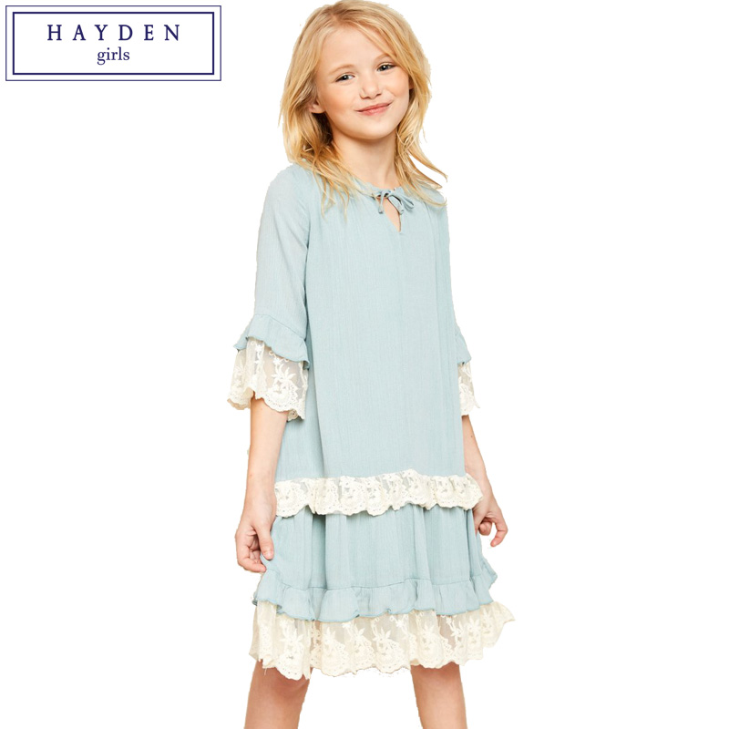 HAYDEN Girls Tuni Dress 2018 Spring Summer New Design Brand Girls Lace Trim Dresses for Teenagers Age 7 8 9 10 11 12 13 14 Years scallop trim cami dress